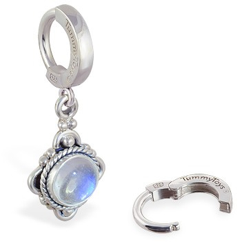 TummyToys® Moonstone Drop Belly Ring. Silver Belly Rings.
