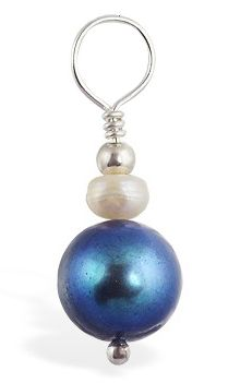 TummyToys® Blue Fresh Water Pearl Swinger - Belly Button Rings