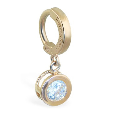 TummyToys® Solid Yellow Gold CZ Dangle. Belly Rings Australia.