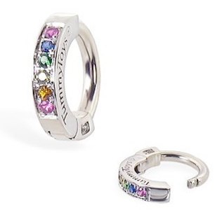 TummyToys® Silver Sleeper Paved With Pastel Rainbow CZ Belly Ring. Silver Belly Rings.