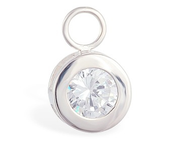 High End Belly Rings . TummyToys Bezel Set CZ Circle Swinger Charm - Changeable Floating Swinger Charm