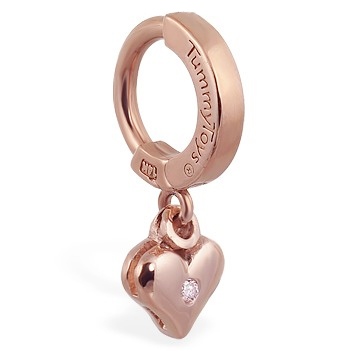 Buy Belly Rings. TummyToys 14K Rose Gold Diamond Heart Navel Ring - Solid 14k Rose Gold Belly Ring with bezel DIAMOND