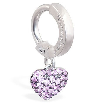 TummyToys® 14K White Gold Pink Sapphire Heart Belly Ring - Belly Button Rings