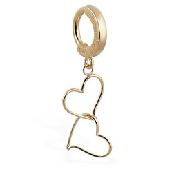 TummyToys® Solid Yellow Gold Hand Made Double Heart Belly Ring