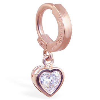TummyToys® Rose Gold Cubic Zirconia Heart Belly Ring. Belly Rings Australia.
