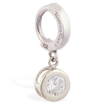 TummyToys® Solid White Gold CZ Dangle. Belly Rings Australia.