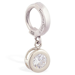 TummyToys® Solid White Gold CZ Dangle