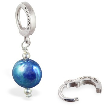 TummyToys® Blue Freshwater Coin Pearl. Shop Belly Rings.