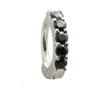 TummyToys® Solid 925 Silver Huggy with Black Diamante. Belly Rings Australia.