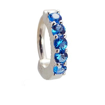 TummyToys® Solid 925 Silver Huggy with Blue Diamante. Belly Rings Australia.