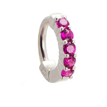 TummyToys® Solid 925 Silver Huggy with Pink Diamante. Belly Rings Australia.