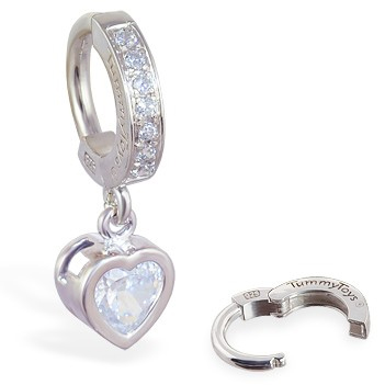 TummyToys® Paved Silver Heart Bezel Set. Belly Rings Australia.