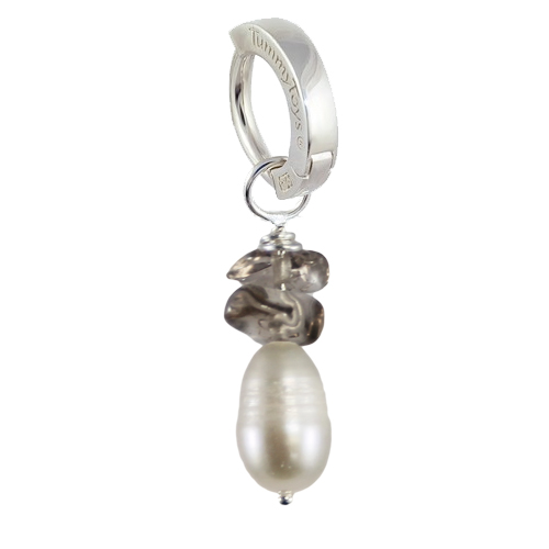 Saltwater Silver Pearl with Smokey Quartz. Belly Rings Australia.