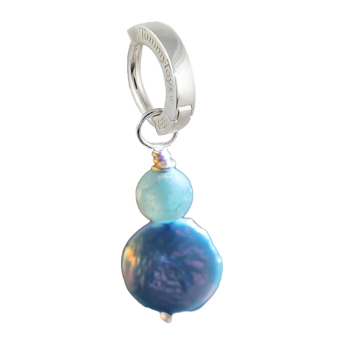 Saltwater Frosted Agate and Blue Pearl. Belly Rings Shop.