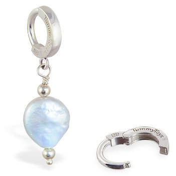 TummyToys® Grey Freshwater Coin Pearl. Belly Rings Australia.