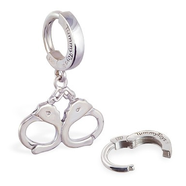 TummyToys® Silver Handcuff Huggy. Quality Belly Rings.
