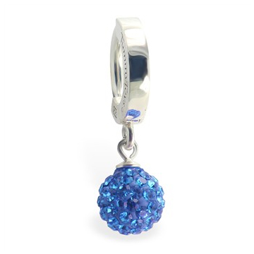 TummyToys® Silver Blue Disco Ball Huggie. Designer Navel Rings.