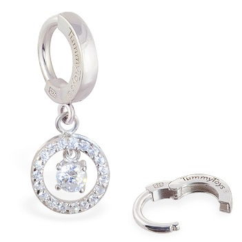TummyToys® Silver Bullseye CZ Drop. Belly Rings Shop.