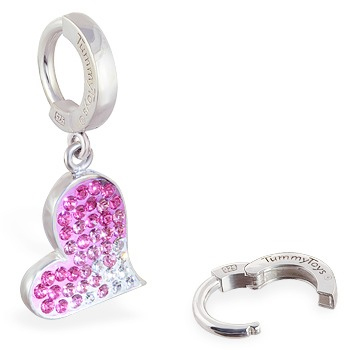 TummyToys® Pink Swarovski Crystal Heart - Navel Rings Online