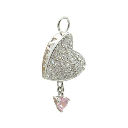 TummyToys® Paved Cubic Zirconia Pink Drop Heart Charm. Belly Rings Australia.