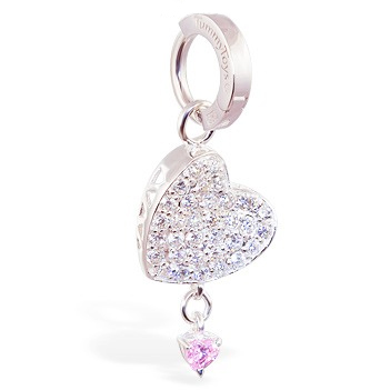 TummyToys® Silver Floating Paved Heart with Pink Drop Swinger. Belly Rings Australia.