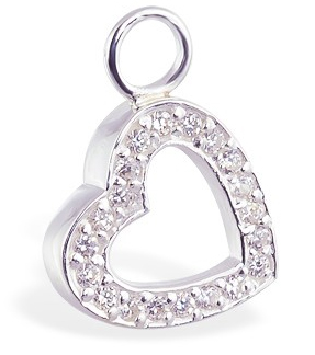 Designer Belly Rings. TummyToys CZ Open Heart Charm - Changeable Floating Swinger Charm
