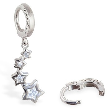 TummyToys® Silver CZ Shooting Stars Navel Jewellery. Belly Rings Australia.