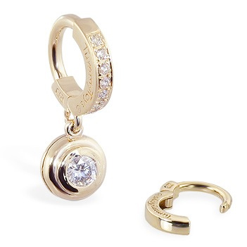 TummyToys® Yellow Gold with 1/4 Ct Diamond Pendant. Quality Belly Rings.