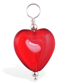 TummyToys® Dangly Red Heart Swinger Charm - Belly Button Rings