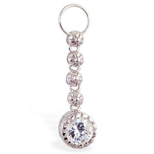 TummyToys® Cubic Zirconia Daisy Chain Swinger Charm. High End Belly Rings.