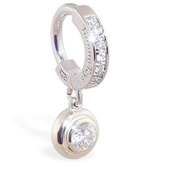 TummyToys® White Gold Belly Ring with 1/4 Ct Diamond Pendant