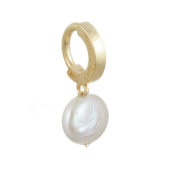 Navel Rings. TummyToys Solid 14K Yellow Gold with Coin Freshwater Pearl Pendant - Freshwater Pearl Snap Lock Belly Ring