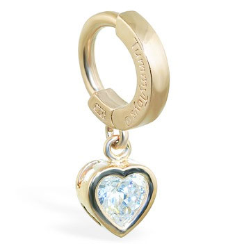 TummyToys® Yellow Gold Cubic Zirconia Heart Belly Ring. Designer Navel Rings.