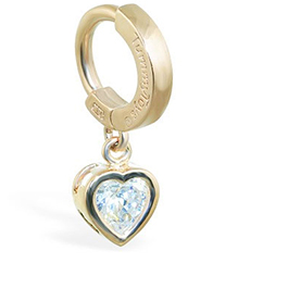 TummyToys® Yellow Gold Cubic Zirconia Heart Belly Ring
