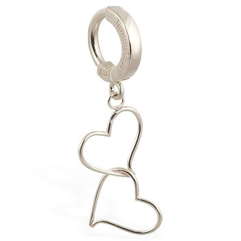 TummyToys® White Gold Hand Made Double Heart Belly Ring. Belly Rings Australia.