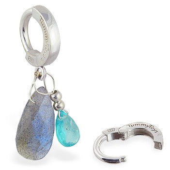TummyToys® Apatite and Labradorite Belly Ring. Belly Bars Australia.