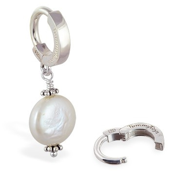TummyToys® Silver Cream Freshwater Coin Pearl Pendant. Belly Bars Australia.