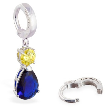 TummyToys® Sapphire and Citrine Coloured CZ Drop. Belly Bars Australia.