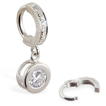 TummyToys® Paved Silver Bezel Set. Belly Bars Australia.