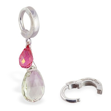 TummyToys® Pink Topaz and Green Quartz Belly Ring. Belly Bars Australia.