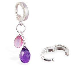 TummyToys® Pink Topaz and Natural Amethyst Belly Jewellery