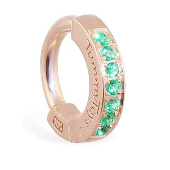 TummyToys® Rose Gold Emerald Pave Sleeper. Shop Belly Rings.