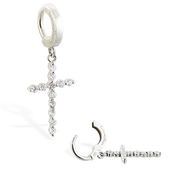 TummyToys® CZ Diamond Cross Belly Ring. Quality Belly Rings.