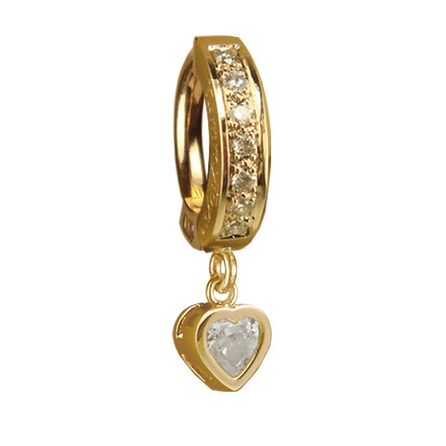 TummyToys® Yellow Gold Cubic Zirconia Heart with DIAMOND Pave Clasp. Navel Rings Australia.