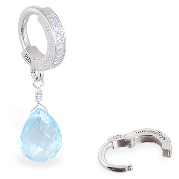 TummyToys® Blue Topaz on Clear CZ Paved Clasp. Quality Belly Rings.